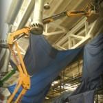 cisiace prace vo vyskach, natieranie z vysokozdviznej plosiny, obnova stropnej konstrukcie priemyselnej haly