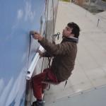 lepenie PVC fólie na lamelový bigboard